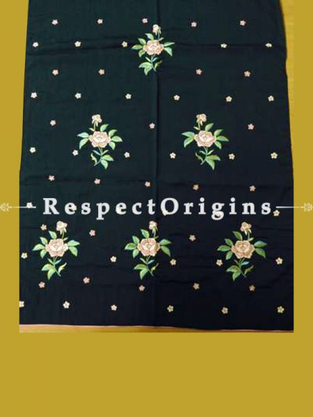 Black Rose Spray Pattern Parsi Gara Embroidery Silk Stoles.; RespectOrigins.com