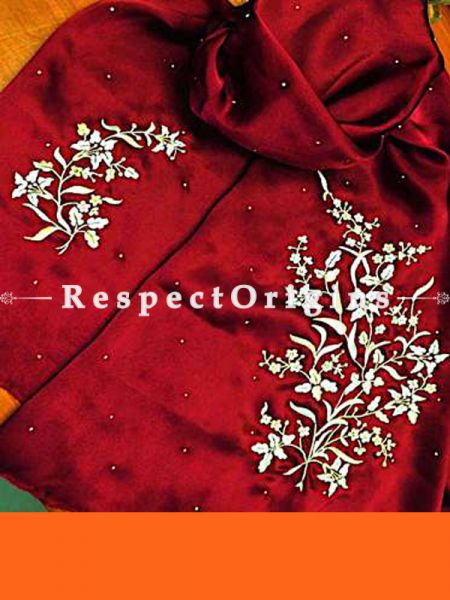 Red Lily Spray Pattern Parsi Gara Embroidered Silk Stoles.; RespectOrigins.com