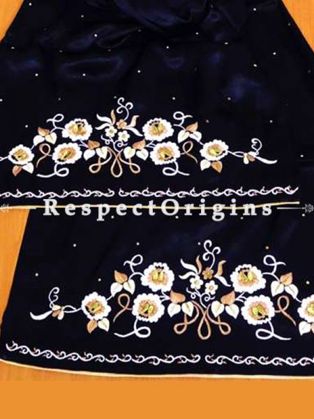 Black Large Gold Rose Pattern Parsi Gara Embroidered Silk Stole. ; RespectOrigins.com