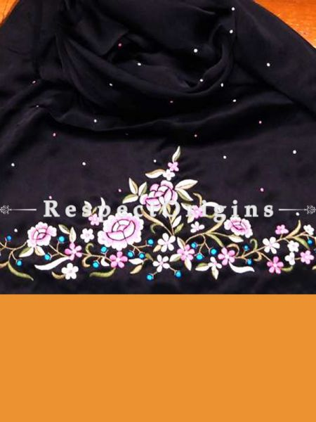 Black base Multicoloured Rose Pattern Parsi Gara Embroidered Silk Stole.; RespectOrigins.com