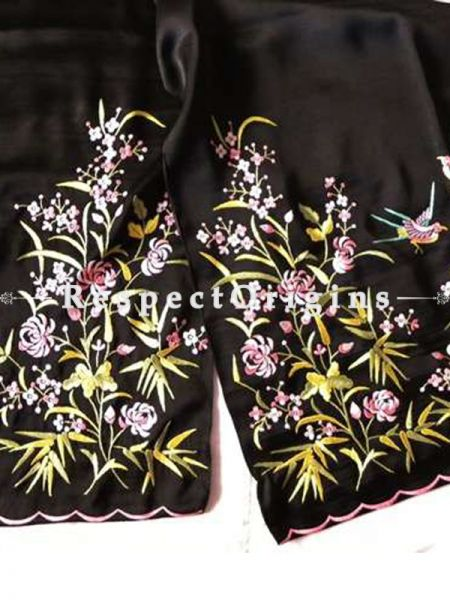 Black based Parsi Gara Embroidery Multi-Coloured Chrysanthemum and Bird Pattern Silk Stole.; RespectOrigins.com