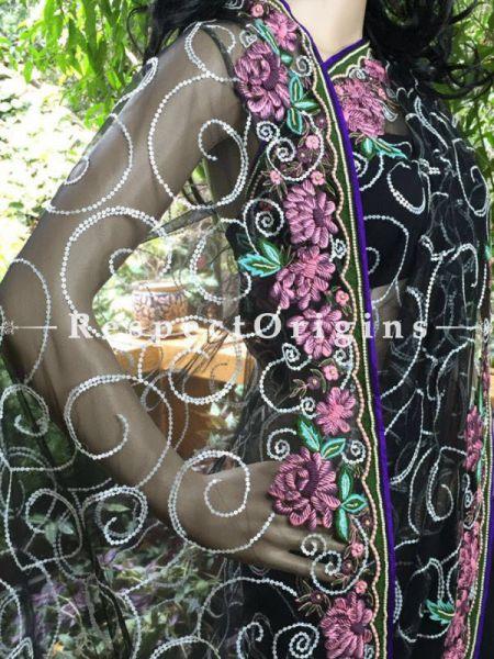 Buy Black Net Saree; Parsi Embroidery at RespectOrigins.com