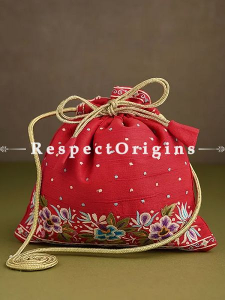 Red Parsi Gara Embroidery Potli Bag with Zinnia pattern.; RespectOrigins.com