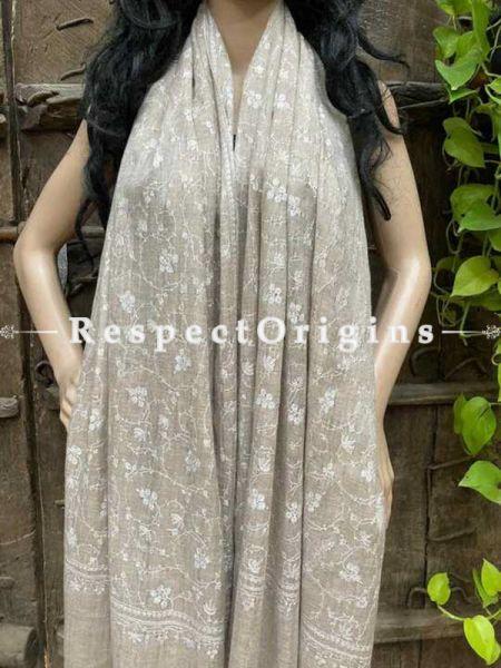 Pashmina Kani Kashmiri Embroidered Stole in White;80 X 28 Inches; RespectOrigins.com