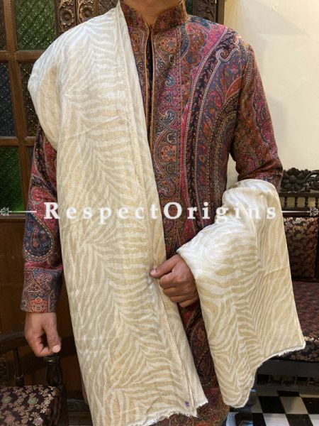 Fine Luxury Pashmina Kani Kashmiri Men Shawl with Antique Zari Weave; 100 X 44 Inches; RespectOrigins.com