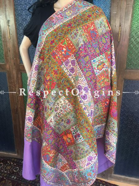 Stunning Kashmiri Pashmina Shawl with Kashidakari Embroidery on Purple Base; 80x40 In; RespectOrigins.com