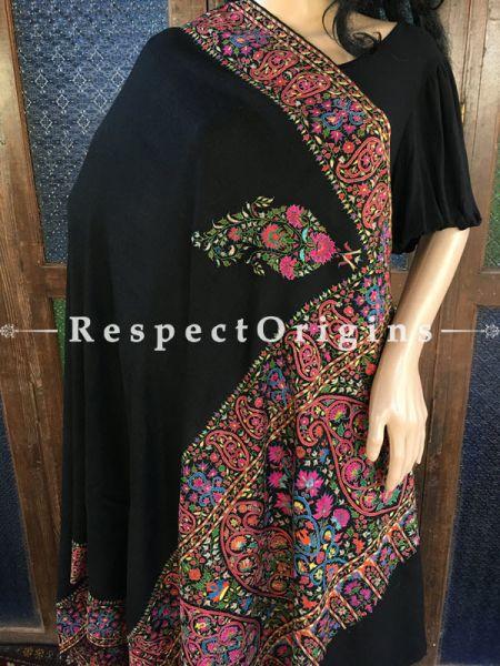 Genuine Kashmiri Pashmina Shawl with Kashidakari Embroidery on Black Base; 80x40 In; RespectOrigins.com