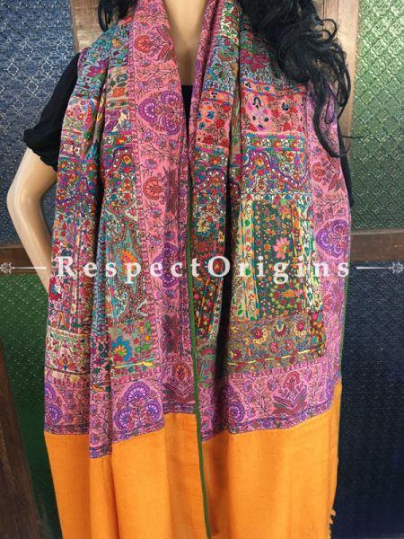 Stunning Multi Color Kashmiri Pashmina Shawl with Kashidakari Embroidery; 80x40 In; RespectOrigins.com