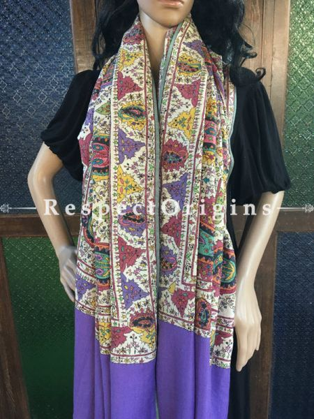 Authentic & Gorgeous Kashmiri Pashmina Shawl with Kashidakari Embroidery on Purple Base; 80x40 In; RespectOrigins.com