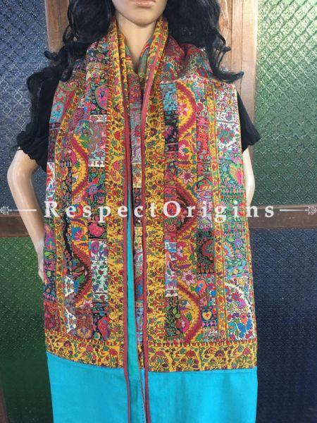 Lovely Kashmiri Pashmina Shawl with Kashidakari Embroidery on Sky Blue Base; 80x40 In; RespectOrigins.com