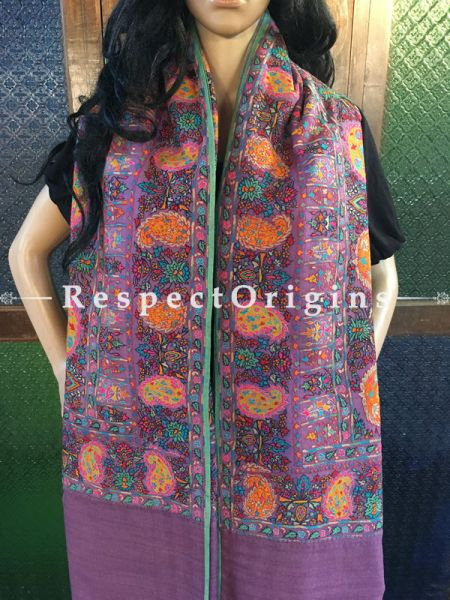 Attractive & Genuine  Kashmiri Pashmina Shawl with Kashidakari Embroidery on Purple Base; 80x40 In; RespectOrigins.com