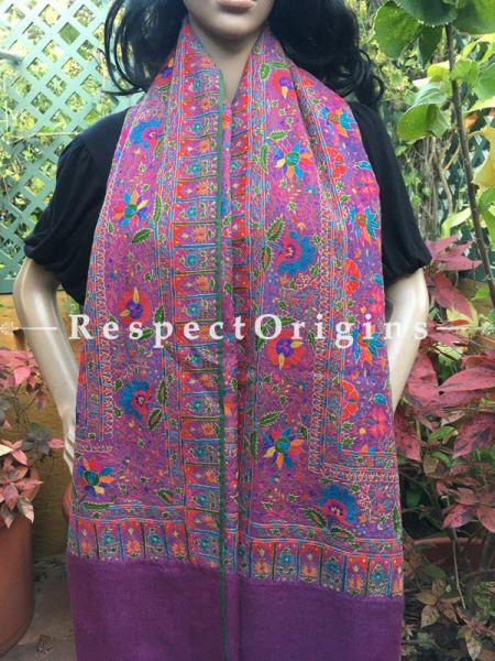 Exquiste & Genuine Kashmiri Pashmina Shawl with Kashidakari Embroidery on Purple Base; 80x40 In; RespectOrigins.com