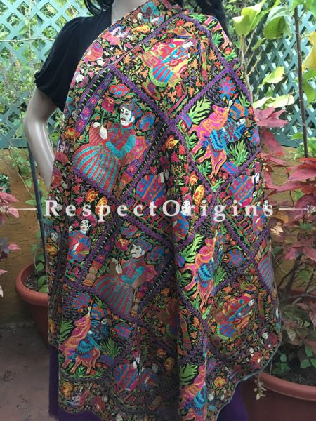 Premium Quality Kashmiri Pashmina Shawl with Kashidakari Embroidery on Purple Base; 80x40 In ; RespectOrigins.com