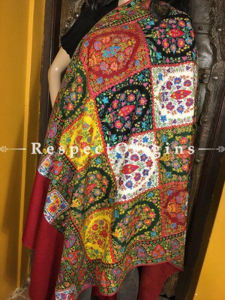 Vibrant Kashmiri Pashmina Shawl with Kashidakari Embroidery on Red Base; 80x40 In; RespectOrigins.com