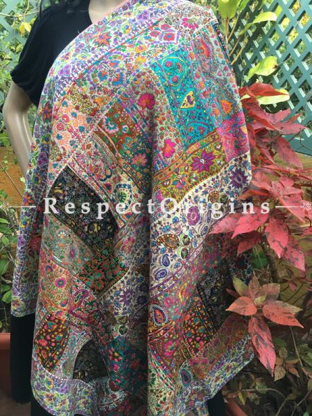 Gorgeous Work Multi Color Pashmina Shawl with Kashidakari Embroidery; 80x40 In; RespectOrigins.com