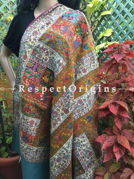 Authentic Kashmiri Pashmina Shawl with Kashidakari Embroidery on White Base; 80x40 Inches; RespectOrigins.com