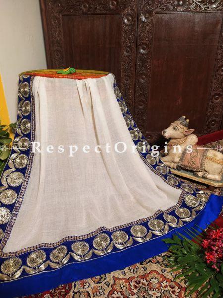 Cream Pashmina Woolen Shawl with Heavy Contrast Border;78X42 Inch; RespectOrigins.com