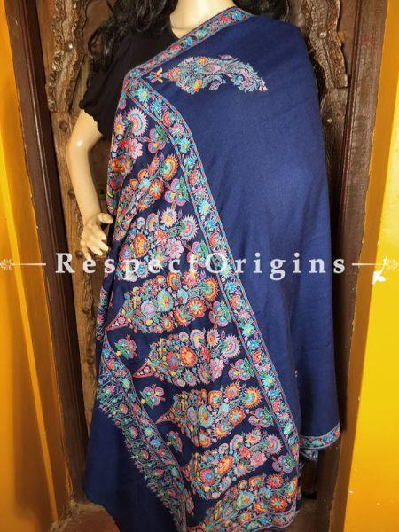 Fine Work Pashmina Shawl with Kashidakari on Blue Base; 80x40 In; RespectOrigins.com