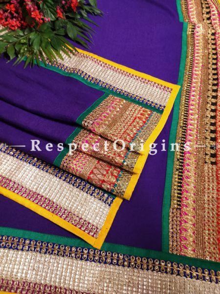 Designer Purple Pashmina Shawl with Heavy Zari Tillawork Border;78 x42 Inch; RespectOrigins.com