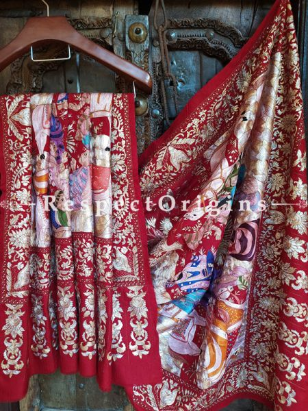 Gorgeous Red Pashmina Shawl with Kashidakari; 84x42 In; RespectOrigins.com