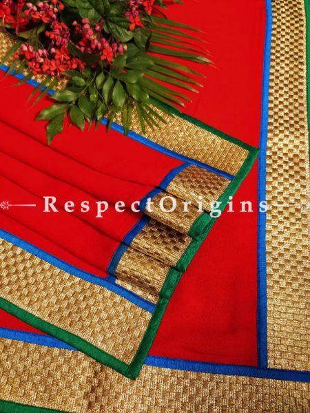 Deep Red Designer Pashmina Shawl with Zari Till Gold Border78; x42 Inch; RespectOrigins.com