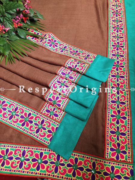 Almond Brown Fine Desiner Pashmina Shawl with Kuttchi Border;78 x42 Inch; RespectOrigins.com