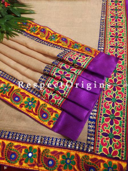 Fab Beige Pashmina Shawl with Stunning Kutchi Border n Purple Silk;78 x42 Inch; RespectOrigins.com