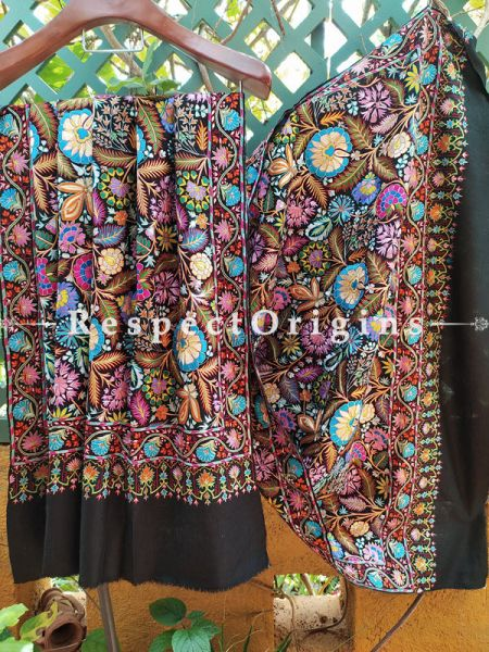 Stunning Black Pashmina Shawl with Colourful Kashidakari; 80x40 In; RespectOrigins.com