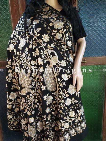 Elegant Pashmina Shawl with Gold Tilla Embroidery on Black Base; 86x46 In; RespectOrigins.com