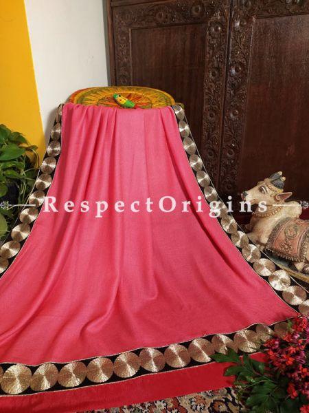 Tilla Zari Border on Rose Pink Pashmina Shawl;78x42 Inch; RespectOrigins.com