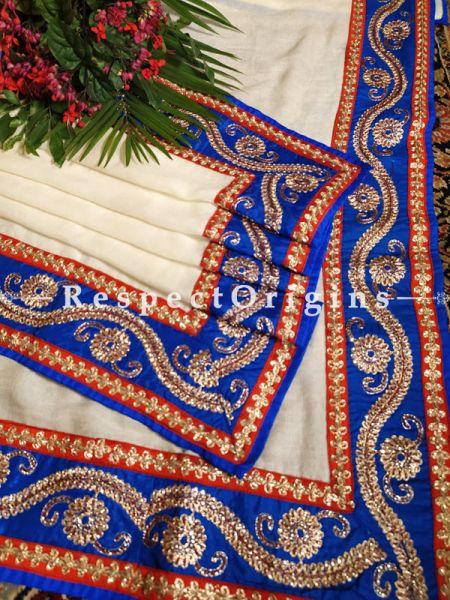 Creamy Pashmina Shawl with Heavy Tillawork Contrast Border;78 x42 Inch; RespectOrigins.com
