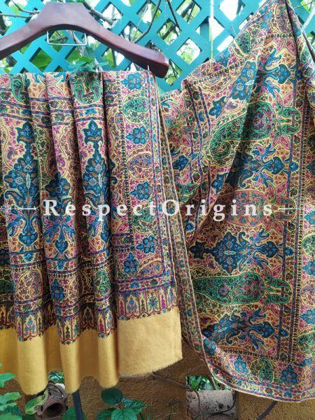 Fine Work Pashmina Shawl with Kashidakari on Yellow Base; 80x40 In; RespectOrigins.com