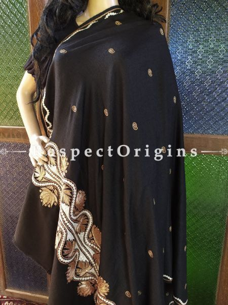 Fabulous Pashmina Shawl with Gold Tilla Embroidery on Black Base; 80x40 In; RespectOrigins.com