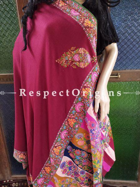 Fabulous Red Pashmina Shawl with Kashidakari; 96x44 In; RespectOrigins.com