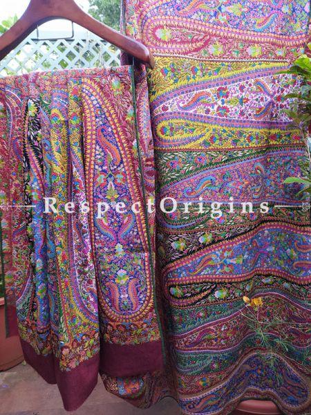 Luxurious Maroon Men's Pashmina Shawl with Colourful Kashidakari; 104x50 In; RespectOrigins.com