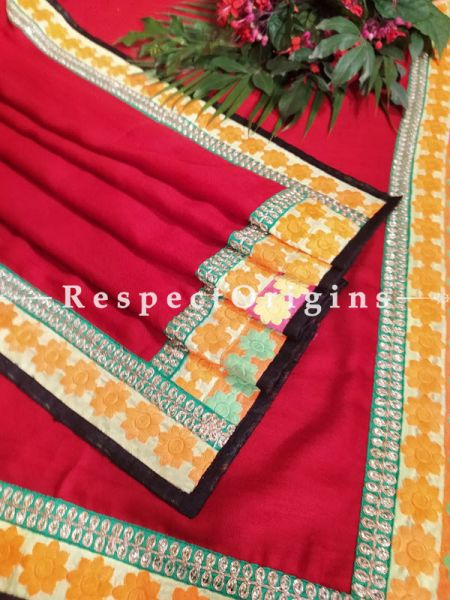 Deep Red Designer Pashmina Shawl with Zari Till Gold Border;78 x42 Inch; RespectOrigins.com