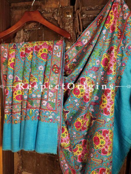 Fabulous Pashmina Shawl with Kashidakari On Turquoise Bluse Base; 80x40 In; RespectOrigins.com