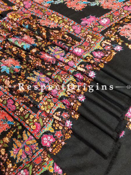 Luxurious Pashmina Shawl with Colourful Kashidakari on Black Base; 84x42 In; RespectOrigins.com