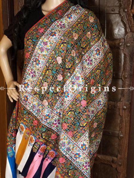 Colouful Kashmiri Pashmina Shawl with Kashidakari; 80x40 In; RespectOrigins.com