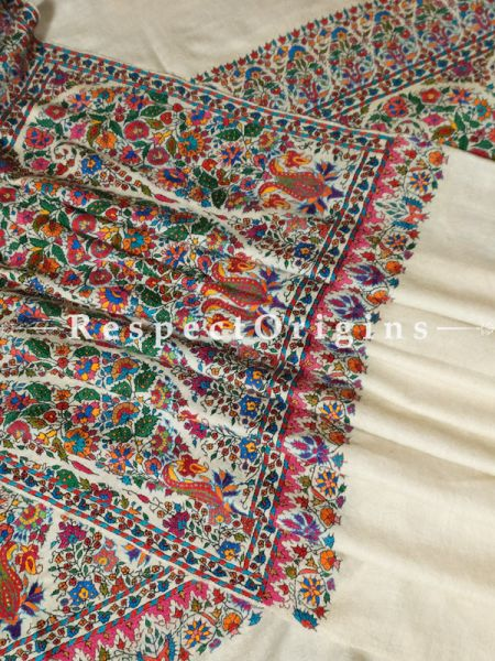 Classic Pashmina Men's Shawl with Kashidakari on Cream Base; 106x53 In; RespectOrigins.com