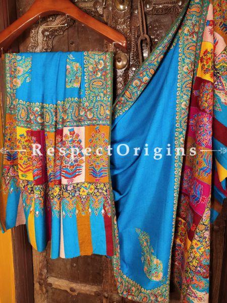Fabulous Pashmina Shawl with Kashidakari on Turquoise Blue Base; 80x40 In; RespectOrigins.com