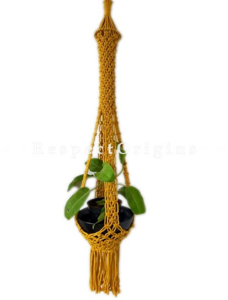 Buy Hand Woven Macrame Hanging Plant holder, Yellow At RespectOrigins.com