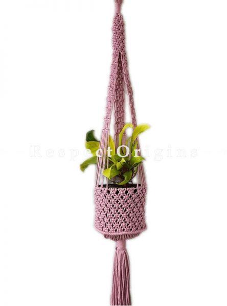 Buy Macrame Hanging Planter, Pink At RespectOrigins.com