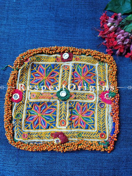 Ethnic Tribal Hand-embroidered Cushion or Dress Patches; 9X9 Inches; RespectOrigins.com