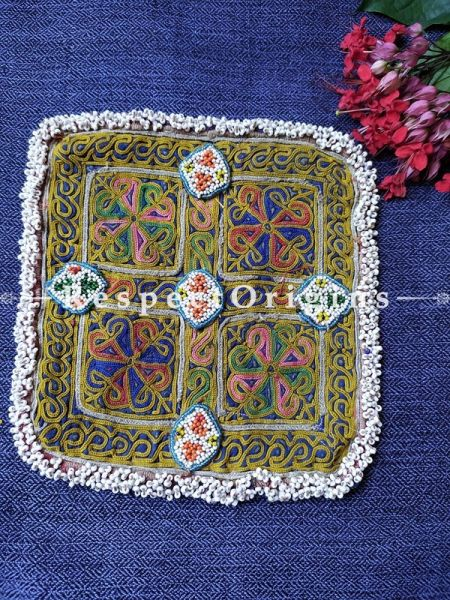 Ethnic Tribal Hand-embroidered Cushion or Dress Patches; 8x8 Inches; RespectOrigins.com