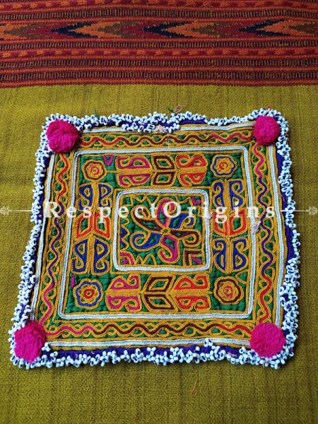 Ethnic Tribal Hand-embroidered Cushion or Dress Patches; 7X7 Inches; RespectOrigins.com