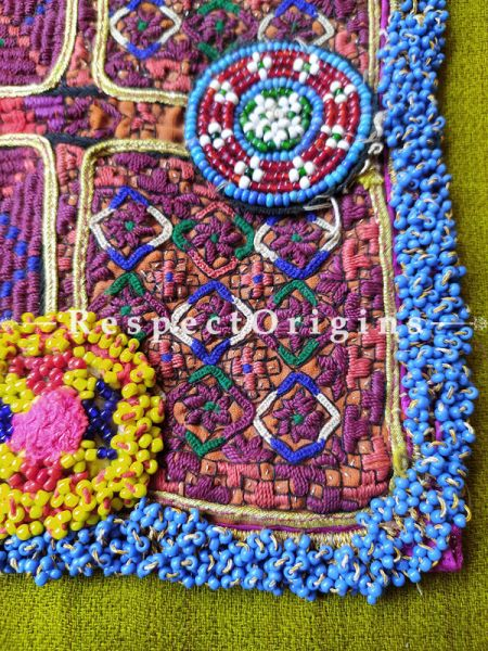 Ethnic Tribal Hand-embroidered Cushion or Dress Patches; 9x8 Inches; RespectOrigins.com