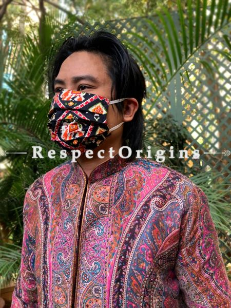 Black Trendy Patola Cotton Washable Face Mask; 8 Inches; RespectOrigins.com