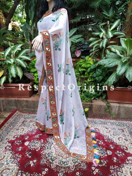 Floral Pastel Organza Coctail Saree with Exclusive Embroidered Border; RespectOrigins.com