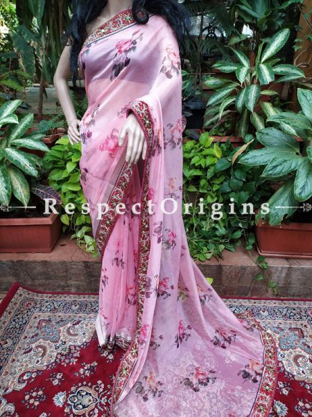 Breezy Floral Pink Organza Party Saree with Heavy Embroidered Border; RespectOrigins.com